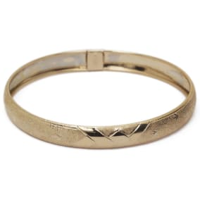 10K Yellow Gold Flexible Bangle Bracelet With Brushed and Polished Diamond Cut Design, Available in 7 and 8 Inch Lengths
