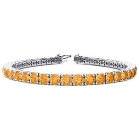9 3/4 Carat Citrine Tennis Bracelet In 14 Karat White Gold Available In 6-9 Inch Lengths