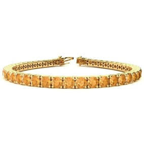 9 3/4 Carat Citrine Tennis Bracelet In 14 Karat Yellow Gold Available In 6-9 Inch Lengths
