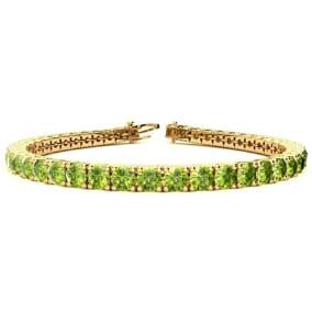 9 3/4 Carat Peridot Tennis Bracelet In 14 Karat Yellow Gold Available In 6-9 Inch Lengths