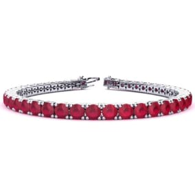 13 1/4 Carat Ruby Tennis Bracelet In 14 Karat White Gold Available In 6-9 Inch Lengths