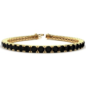 9 3/4 Carat Black Diamond Tennis Bracelet In 14 Karat Yellow Gold Available In 6-9 Inch Lengths
