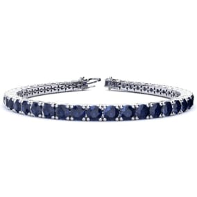 13 3/4 Carat Sapphire Tennis Bracelet In 14 Karat White Gold Available In 6-9 Inch Lengths