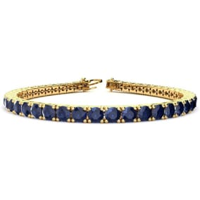 13 3/4 Carat Sapphire Tennis Bracelet In 14 Karat Yellow Gold Available In 6-9 Inch Lengths