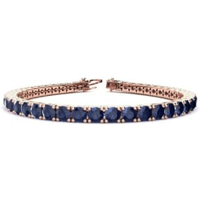 13 3/4 Carat Sapphire Tennis Bracelet In 14 Karat Rose Gold Available In 6-9 Inch Lengths