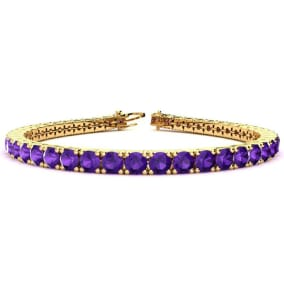 9 3/4 Carat Amethyst Tennis Bracelet In 14 Karat Yellow Gold Available In 6-9 Inch Lengths