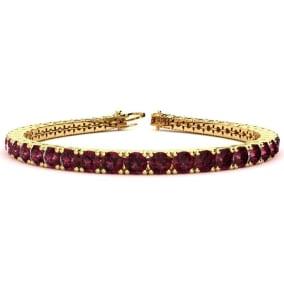 10 3/4 Carat Garnet Tennis Bracelet In 14 Karat Yellow Gold Available In 6-9 Inch Lengths