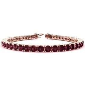 10 3/4 Carat Garnet Tennis Bracelet In 14 Karat Rose Gold Available In 6-9 Inch Lengths