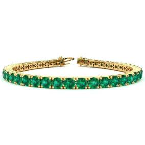 12 1/4 Carat Emerald Tennis Bracelet In 14 Karat Yellow Gold Available In 6-9 Inch Lengths