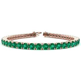 12 1/4 Carat Emerald Tennis Bracelet In 14 Karat Rose Gold Available In 6-9 Inch Lengths
