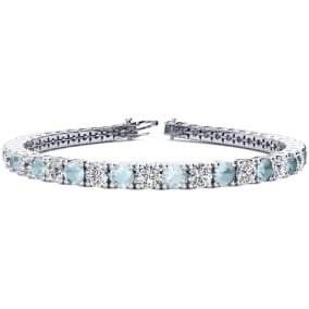 8 3/4 Carat Aquamarine and Diamond Tennis Bracelet In 14 Karat White Gold Available In 6-9 Inch Lengths
