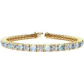 8 3/4 Carat Aquamarine and Diamond Tennis Bracelet In 14 Karat Yellow Gold Available In 6-9 Inch Lengths