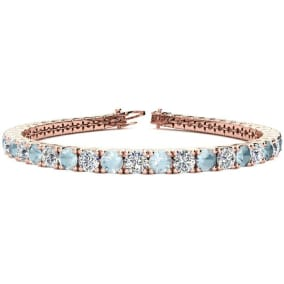 8 3/4 Carat Aquamarine and Diamond Tennis Bracelet In 14 Karat Rose Gold Available In 6-9 Inch Lengths