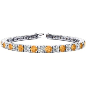 9 3/4 Carat Citrine and Diamond Tennis Bracelet In 14 Karat White Gold Available In 6-9 Inch Lengths