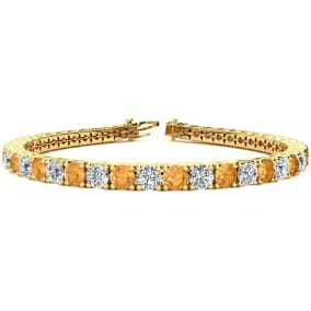 9 3/4 Carat Citrine and Diamond Tennis Bracelet In 14 Karat Yellow Gold Available In 6-9 Inch Lengths