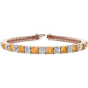 9 3/4 Carat Citrine and Diamond Tennis Bracelet In 14 Karat Rose Gold Available In 6-9 Inch Lengths