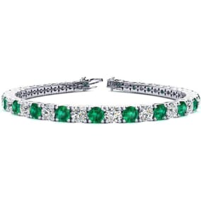 11 Carat Emerald and Diamond Tennis Bracelet In 14 Karat White Gold Available In 6-9 Inch Lengths
