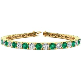 11 Carat Emerald and Diamond Tennis Bracelet In 14 Karat Yellow Gold Available In 6-9 Inch Lengths