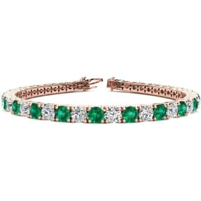 11 Carat Emerald and Diamond Tennis Bracelet In 14 Karat Rose Gold Available In 6-9 Inch Lengths