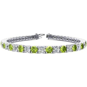 9 3/4 Carat Peridot and Diamond Tennis Bracelet In 14 Karat White Gold Available In 6-9 Inch Lengths