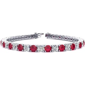 11 1/2 Carat Ruby and Diamond Tennis Bracelet In 14 Karat White Gold Available In 6-9 Inch Lengths