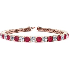 11 1/2 Carat Ruby and Diamond Tennis Bracelet In 14 Karat Yellow Gold Available In 6-9 Inch Lengths