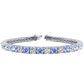 9 1/2 Carat Tanzanite and Diamond Tennis Bracelet In 14 Karat White Gold Available In 6-9 Inch Lengths