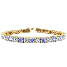 9 1/2 Carat Tanzanite and Diamond Tennis Bracelet In 14 Karat Yellow Gold Available In 6-9 Inch Lengths