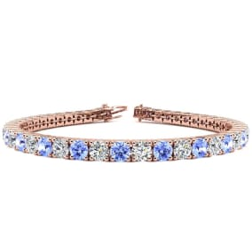 9 1/2 Carat Tanzanite and Diamond Tennis Bracelet In 14 Karat Rose Gold Available In 6-9 Inch Lengths
