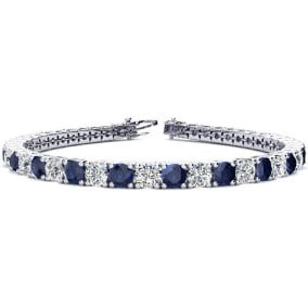 11 3/4 Carat Sapphire and Diamond Tennis Bracelet In 14 Karat White Gold Available In 6-9 Inch Lengths