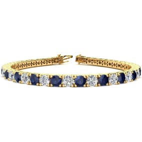 11 3/4 Carat Sapphire and Diamond Tennis Bracelet In 14 Karat Yellow Gold Available In 6-9 Inch Lengths