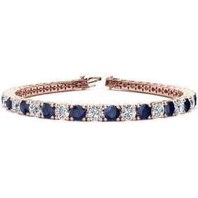 11 3/4 Carat Sapphire and Diamond Tennis Bracelet In 14 Karat Rose Gold Available In 6-9 Inch Lengths