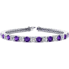 9 3/4 Carat Amethyst and Diamond Tennis Bracelet In 14 Karat White Gold Available In 6-9 Inch Lengths