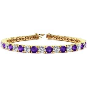 9 3/4 Carat Amethyst and Diamond Tennis Bracelet In 14 Karat Yellow Gold Available In 6-9 Inch Lengths