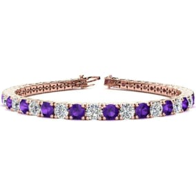9 3/4 Carat Amethyst and Diamond Tennis Bracelet In 14 Karat Rose Gold Available In 6-9 Inch Lengths