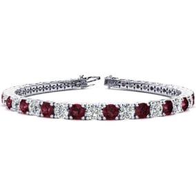 10 1/4 Carat Garnet and Diamond Tennis Bracelet In 14 Karat White Gold Available In 6-9 Inch Lengths