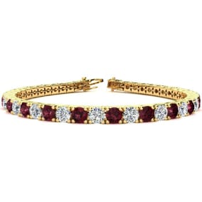 10 1/4 Carat Garnet and Diamond Tennis Bracelet In 14 Karat Yellow Gold Available In 6-9 Inch Lengths