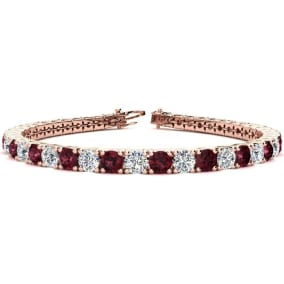 10 1/4 Carat Garnet and Diamond Tennis Bracelet In 14 Karat Rose Gold Available In 6-9 Inch Lengths