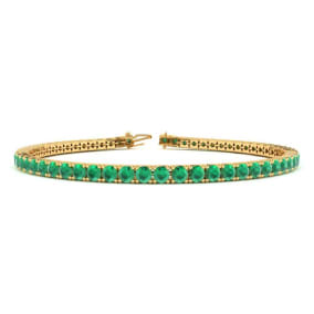 5 Carat Emerald Tennis Bracelet In 14 Karat Yellow Gold Available In 6-9 Inch Lengths