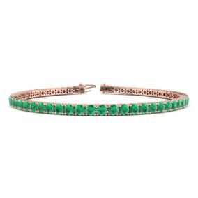 5 Carat Emerald Tennis Bracelet In 14 Karat Rose Gold Available In 6-9 Inch Lengths