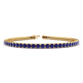 5 1/2 Carat Sapphire Tennis Bracelet In 14 Karat Yellow Gold Available In 6-9 Inch Lengths