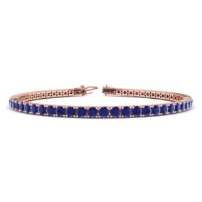 5 1/2 Carat Sapphire Tennis Bracelet In 14 Karat Rose Gold Available In 6-9 Inch Lengths