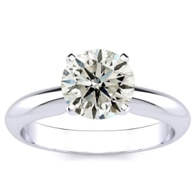 1 1/2 Carat Round Diamond Solitaire Ring in 14K White Gold