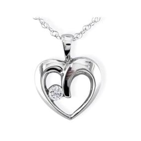1/10ct Diamond Heart Pendant in 10k White Gold