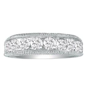1/2ct Platinum Diamond Wedding Band, Antique Model, Channel Set