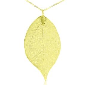 24k Gold Overlay Leaf Pendant on Long Chain