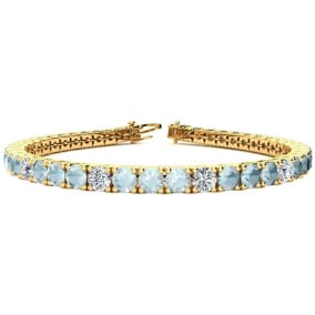 8 1/3 Carat Aquamarine and Diamond Alternating Tennis Bracelet In 14 Karat White Gold Available In 6-9 Inch Lengths