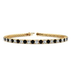 4 Carat Black And White Diamond Tennis Bracelet In 14 Karat Yellow Gold, 7 Inches