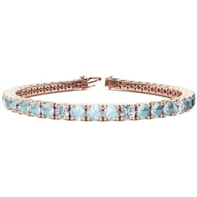 8 1/3 Carat Aquamarine and Diamond Graduated Tennis Bracelet In 14 Karat Rose Gold Available In 6-9 Inch Lengths