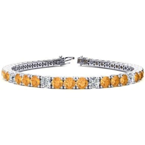 9 3/4 Carat Citrine and Diamond Graduated Tennis Bracelet In 14 Karat White Gold Available In 6-9 Inch Lengths